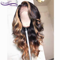 13x6 Deep part Lace Front Human Hair Wigs 180% Density Brazilian Remy Wavy Human Hair Pre-Plucked Hairline Dream Beauty