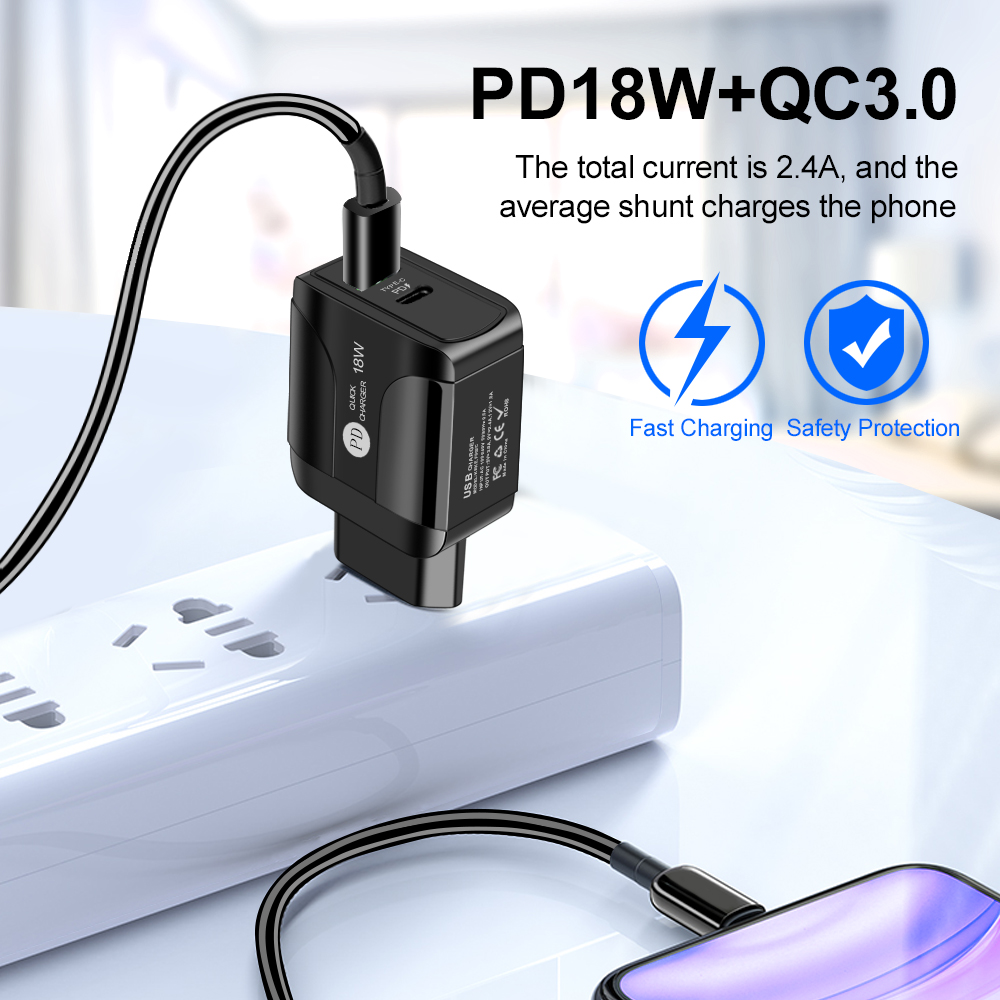 AIXXCO Quick Charge 3.0 QC 18W PD USB Charger QC3.0 Fast Charging USB Wall Phone Charger For Samsung Xiaomi FOR iPhone 8 11