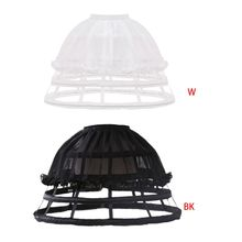 Womens Lolita Hollow Out Birdcage Petticoat 4 Hoops Geplooide Ruches Onderrok