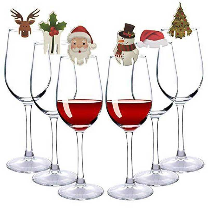 10Pcs/lot Christmas Decorations For Home Table Place Cards Christmas Santa Hat Wine Glass Decoration New Year Party Supplies image