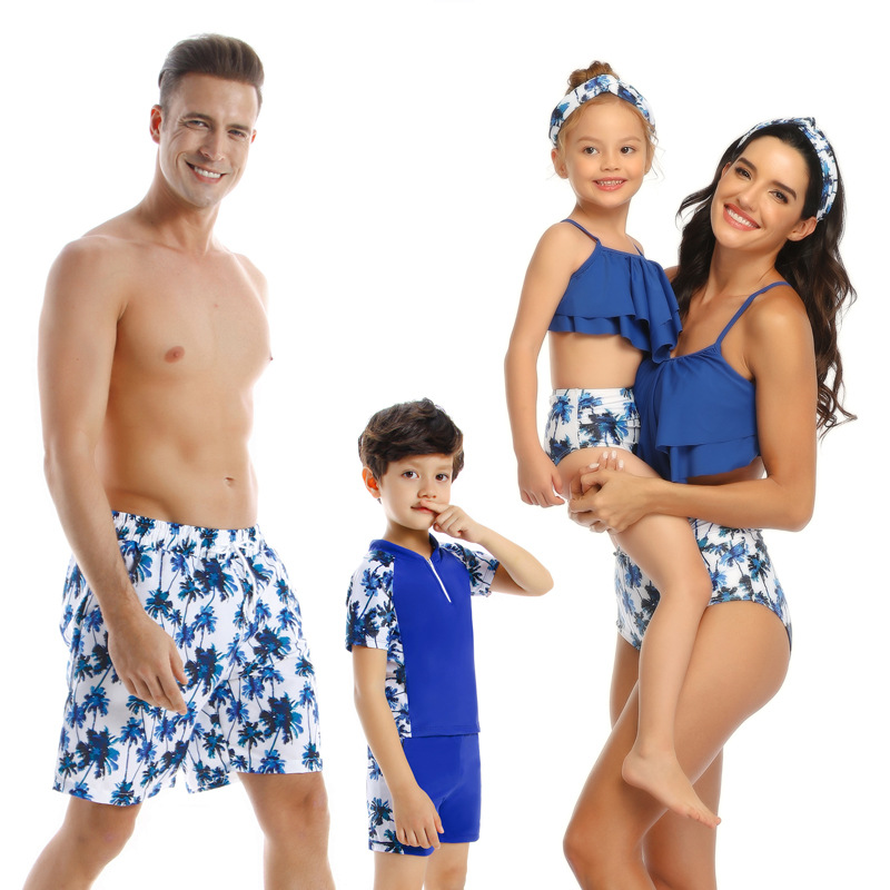 Hf8974a3e450f4e23918e79cd54831998B - Summer Family Matching Outfits Swimwear Mother Daughter Kids Swimsuit Bikini Bathing Suit Father Son Shorts Swimwear Clothes