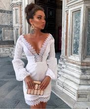 Female Lace Dresses New arrive High quality luxury runway white Dress women Long sleeve Sexy V-neck party dress vestidos