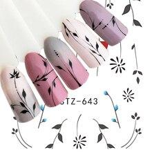 1pcs Nail art Sticker Wasser Transfer Decals Einfache Punktierung Blume Maniküre Sliders Nail art Dekoration Wasserzeichen Wraps BESTZ643