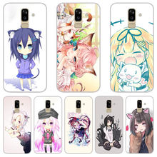 cute cat girl Matte Silicone Cases For Samsung galaxy J3 J5 J7 A3 A5 A7 2016 2017 TPU Phone Case back Cover(China)
