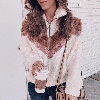 HUNTER Warm Coat For Women Sweatshirt Outerwear Zippe Plush Ladies Casual Winter Coat Soft Loose Jacket Female фото