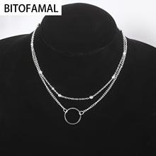 Fashion Double-layer Bead Chain Hollow Circle Pendant Necklace for Women Simple Geometric Female Trendy Chokers Necklaces tanie tanio Brak Kobiety Naszyjniki typu choker CN (pochodzenie) Łańcuszek o splocie żmijka Metal ROUND Na imprezę