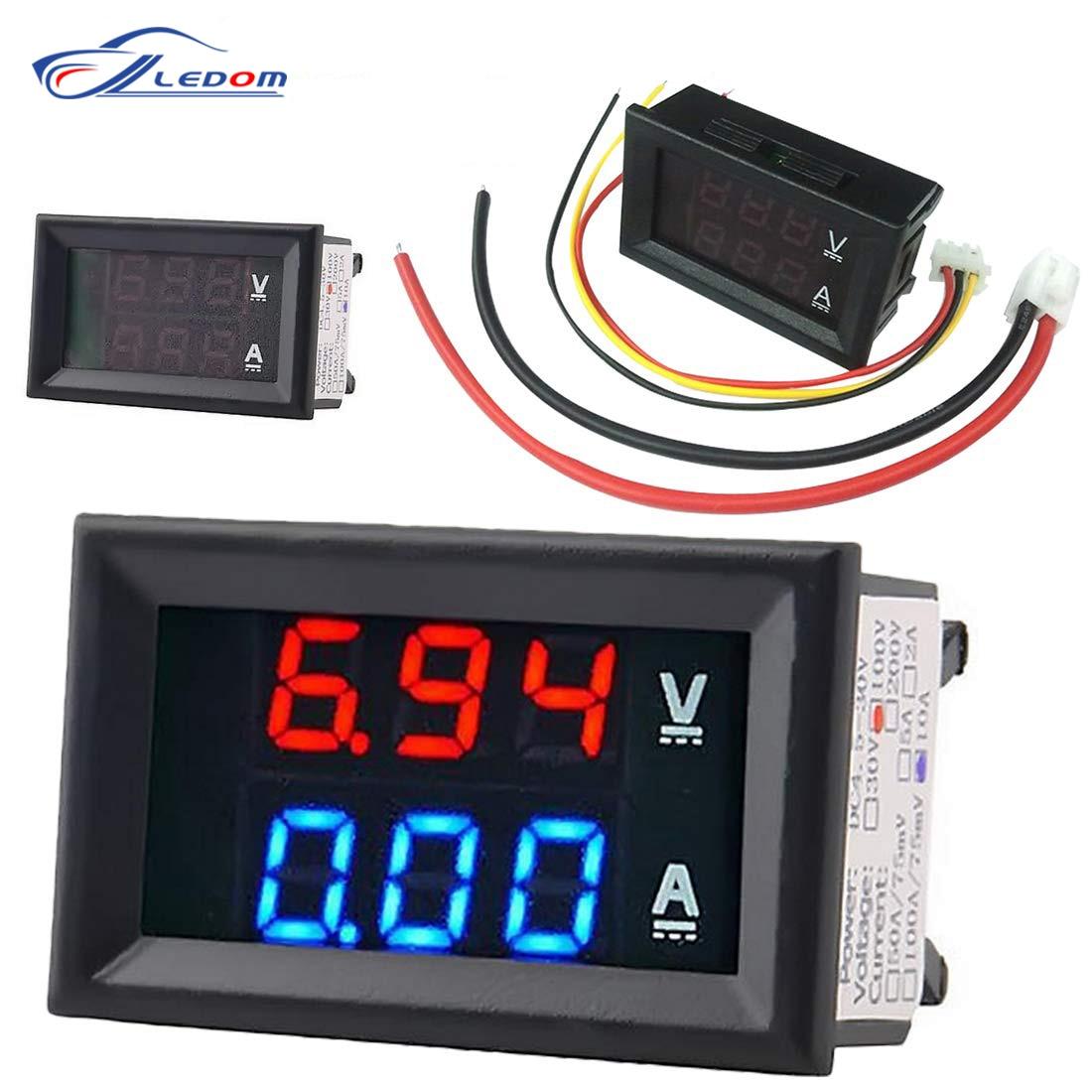 DC 100V 10A цифровой вольтметр Амперметр синий + красный светодиодный Amp двойной цифровой вольтметр Калибр вольтметр Для электромобиля или мото...