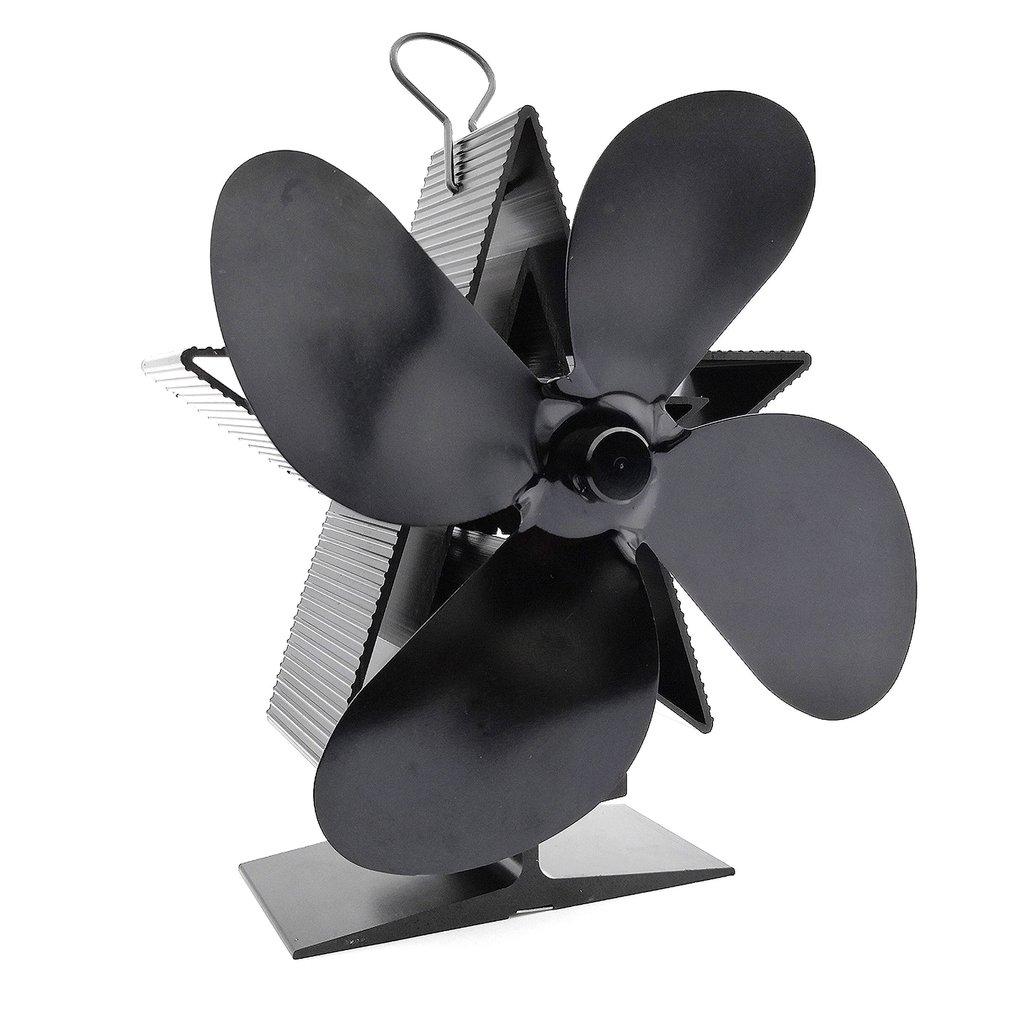 Thermal Power Fireplace Fan Heat Powered Wood Stove Fan Log Wood Burner Ecofan Four-leaf Fans Efficient Heat Distribution