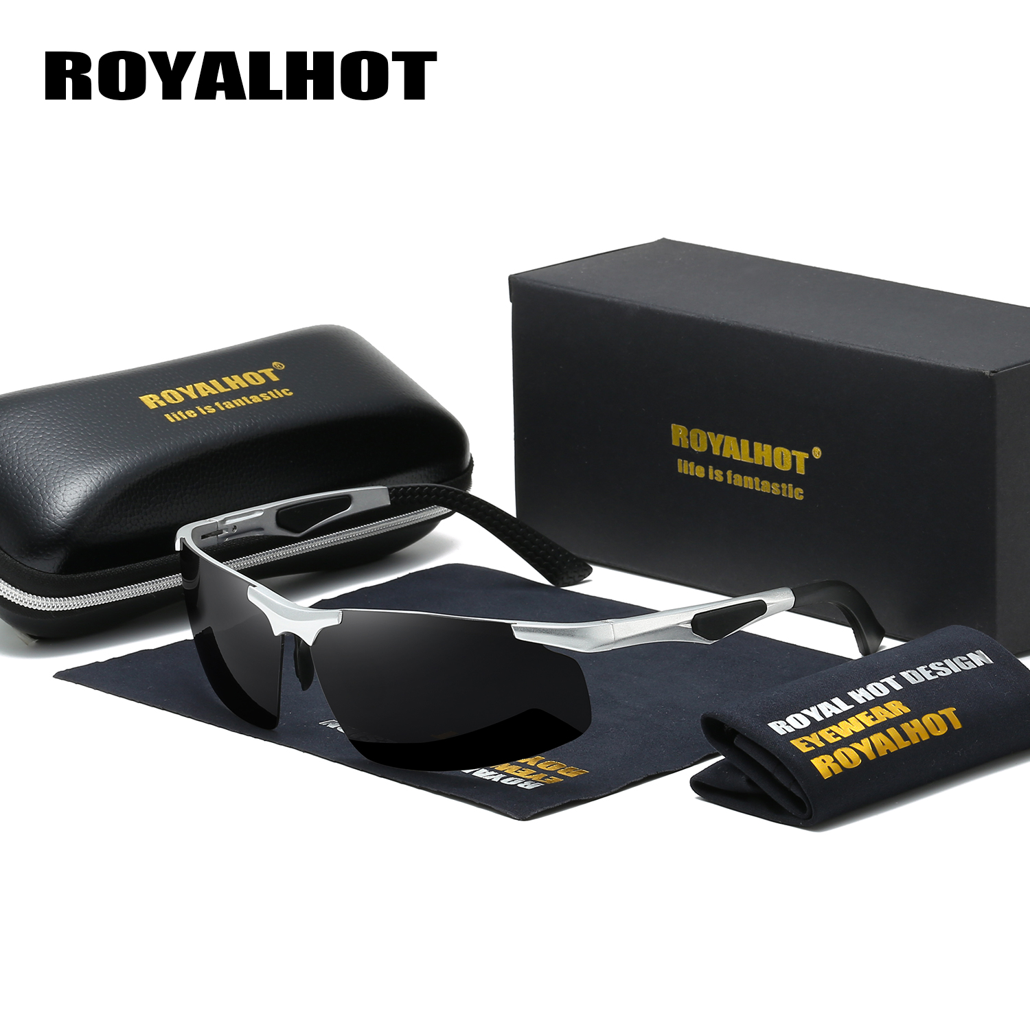 RoyalHot Men Women Polarized Aloy Rectangle  Frame Sunglasses  Driving Sun Glasses Shades Oculos Masculino Male P60011