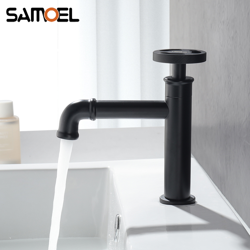Industrial Style Brass Matte Black Bathroom Sink Faucet Single Hole Basin Cold Water Tap torneira banheiro B3379