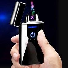 Duplo arco dedo toque indução isqueiro elétrico usb recarregável cigarro isqueiros fumar liga de zinco isqueiro elétrico