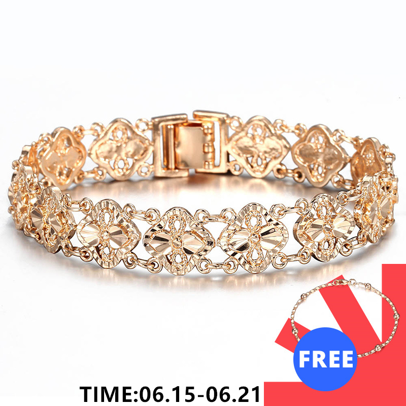 New Women Girls 585 Rose Gold Color Fashion Cut Out Carved Flower Heart Oval Wristband Jewelry Toggle Lock 2 Style CBM04 Chain & Link Bracelets    - AliExpress