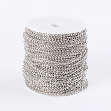 Pandahall 100 M/רול ברזל Unwelded כדור חרוז שרשרות עבור DIY תכשיטי ביצוע שרשרת צמיד; בחייך סליל, חרוז: 2.4mm F80