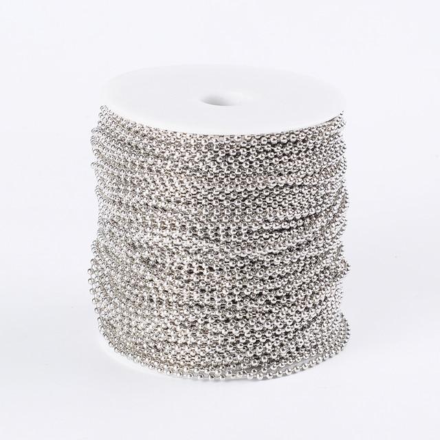 Pandahall 100 M/ม้วนเหล็ก Unwelded ลูกปัดโซ่สำหรับ DIY เครื่องประดับทำสร้อยคอสร้อยข้อมือ come On Reel,ลูกปัด: 2.4 มม.F80