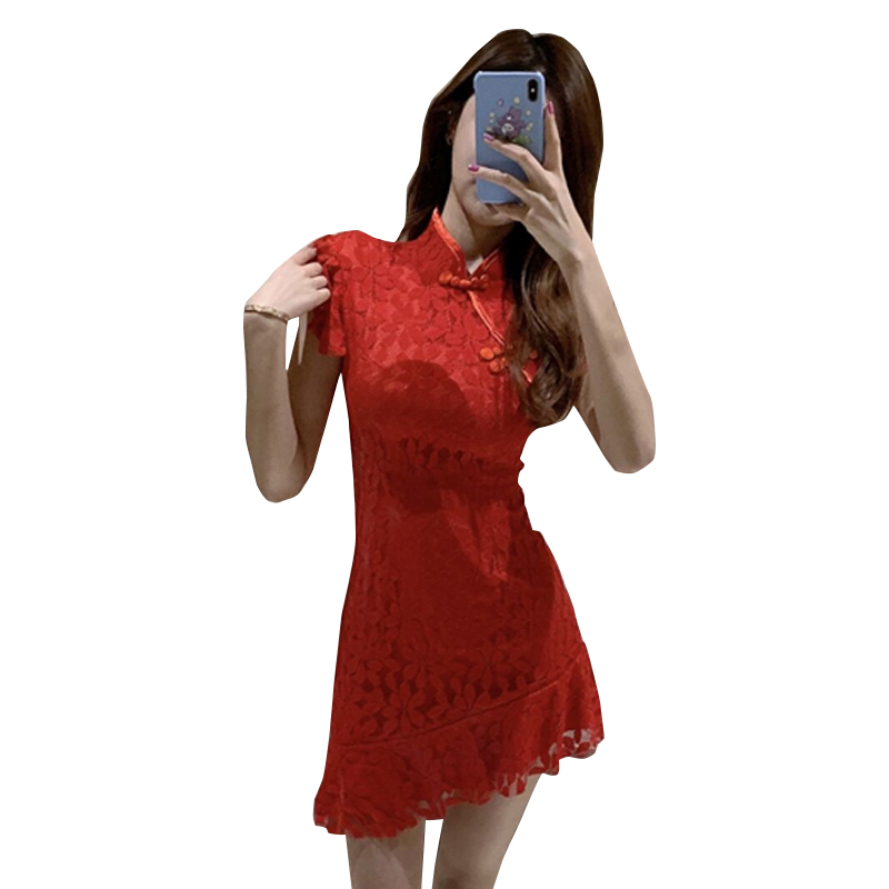 2020 китайское платье ретро традиционное женское облегающее Ципао дамское сексуальное короткое Кружевное Ципао элегантное винтажное улучше