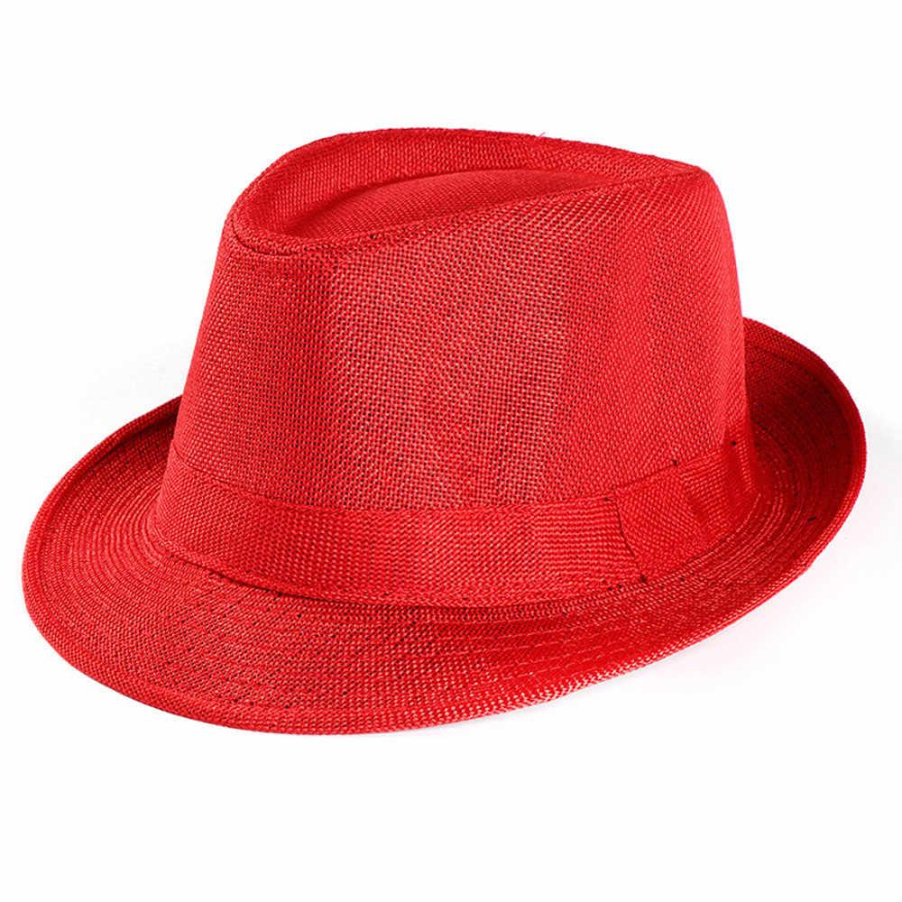 2019 ใหม่ Unisex Trilby นักเลงหมวกหาดซันฟางหมวก Sunhat Suns หมวก
