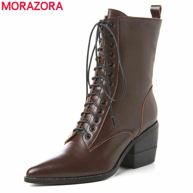 MORAZORA Büyük boy 33-42 Yeni retro hakiki deri çizmeler kadın sivri burun lace up vintage avrupa yüksek topuk yarım çizmeler kadın
