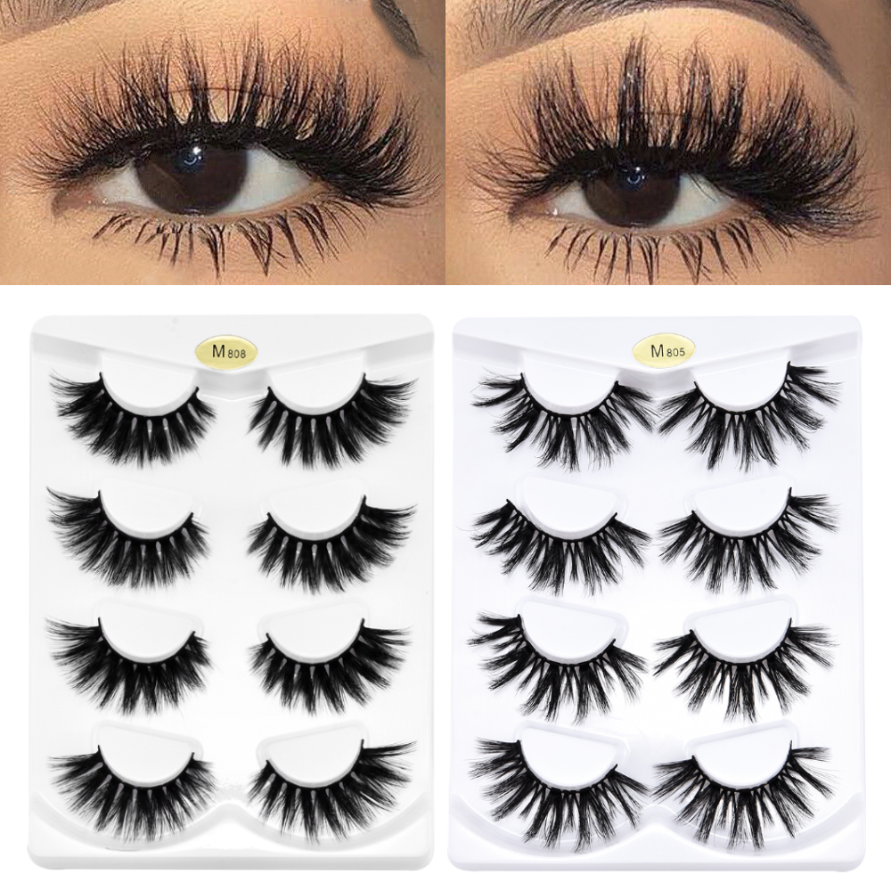 4 Pairs 3D Faux Mink Hair False Eyelashes Wispy Fluffy Multilayer Lashes Maquiagem Extension Mink Eyelashes For Beauty Tools