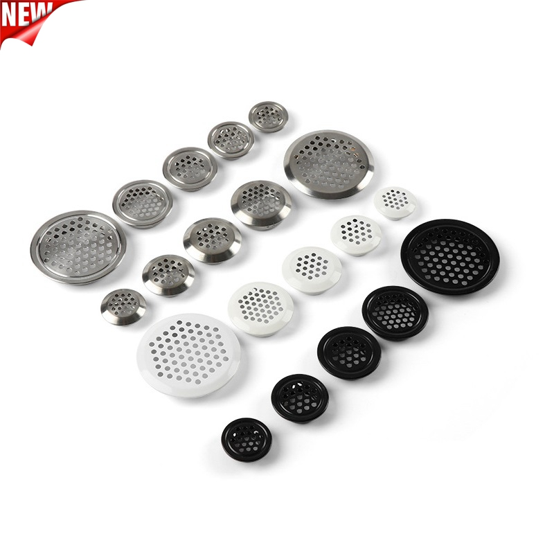 20PCS/LOT White/Black/Silver 3colors Steel Cabinet Air Duct Vent Dia.19mm-53mm Steel Louver Mesh Hole Plug Decoration Mesh Cover