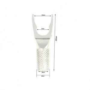 Image 5 - 8pcs Audio rame puro placcato argento Y Spade altoparlanti spine Audio vite forcella adattatore connettore