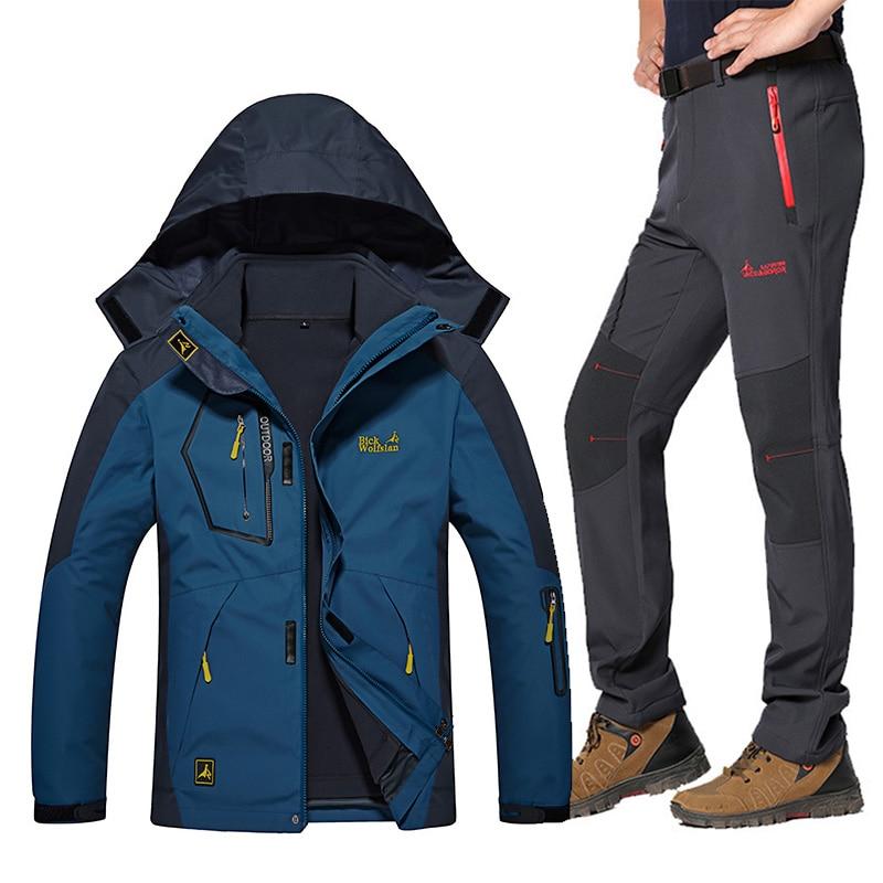 Ski Suit For Men Outdoor Windproof Waterproof Ski Snowboard Jacket Pants Suit Winter Thicken Warm Ski Jacket Men Plus Size 5XL