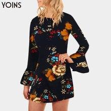 YOINS noir Vintage imprimé fleuri a-ligne vacances Mini robe décontracté col rond manches longues évasées fermeture éclair ourlet incurvé Vestidos