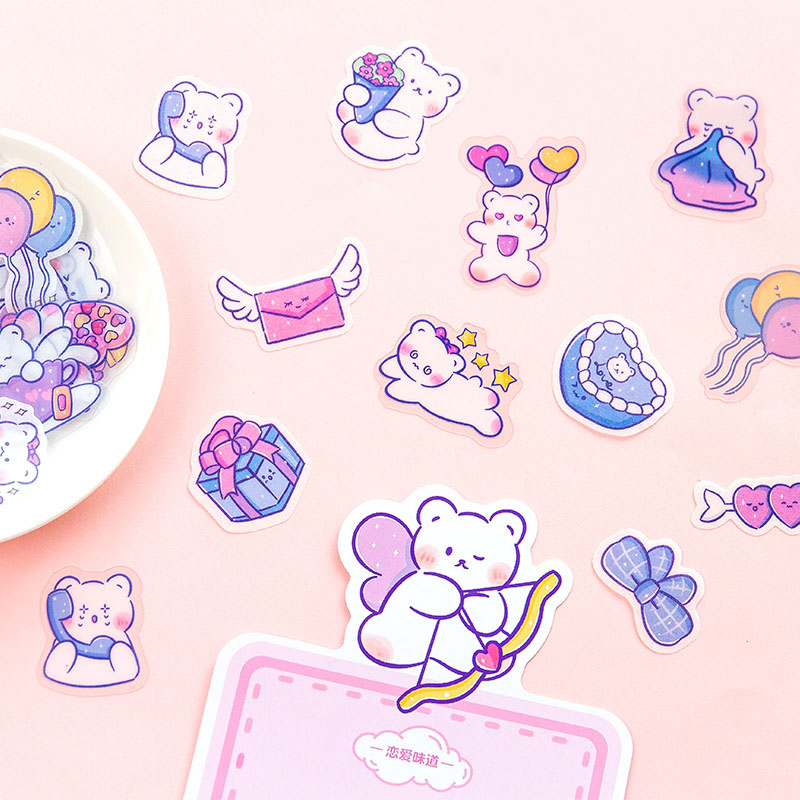 40Pcs Cute Decor Stationery Stickers Kawaii Bear Cartoon Stickers Paper Adhesive Sticker For Kids Scrapbooking Diary Supplies