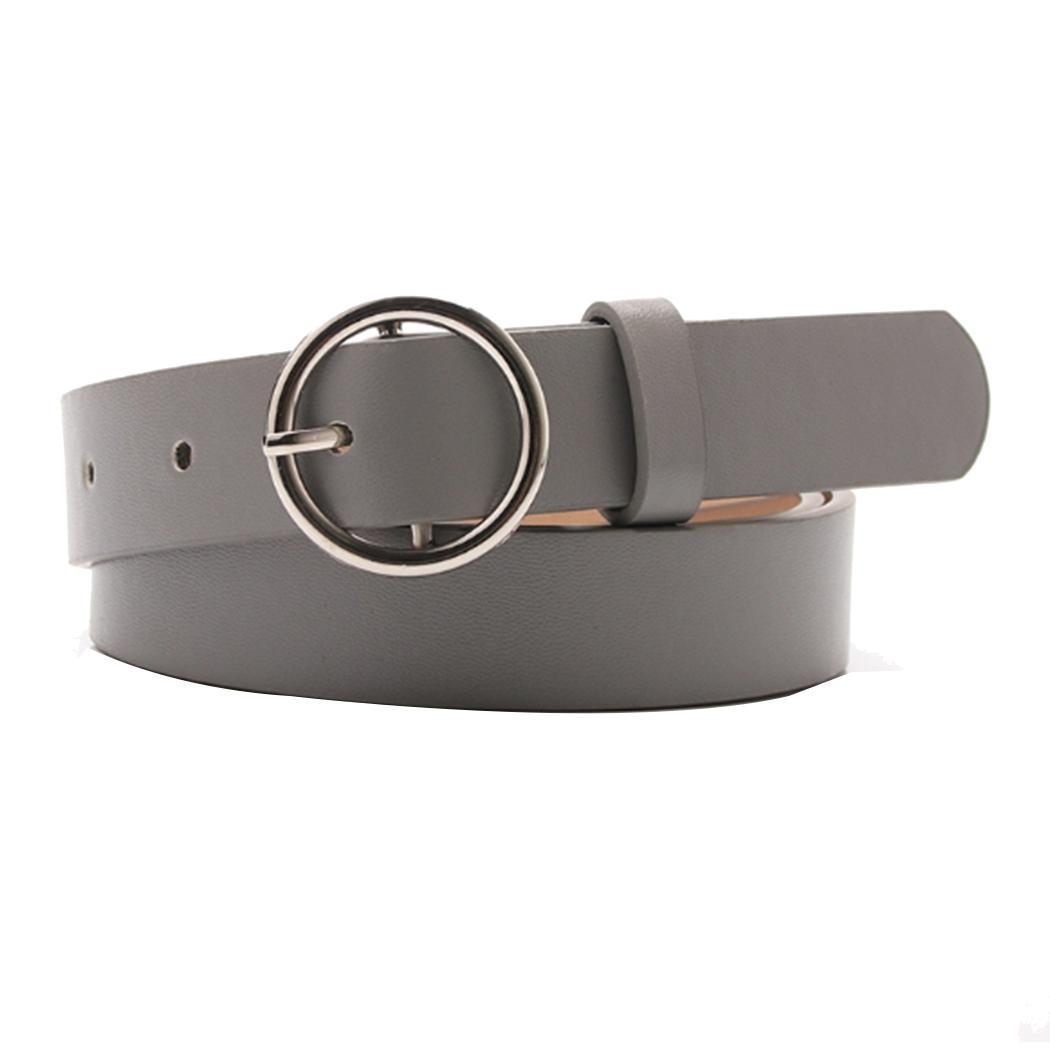 Women Synthetic Leather Belt Metal Round Casual Pin Buckle 105cm Waistband Black/Grey/Khaki/Red/White Alloy