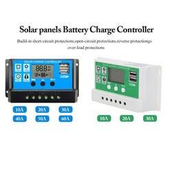 60A/50A/40A/30A/20A/10A 12V 24V Авто за максимальной точкой мощности, Солнечный контроллер заряда ШИМ-контроллеры ЖК-дисплей Dual USB 5V Выход обжимной