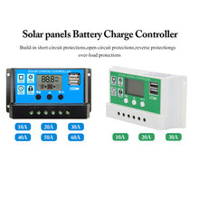 60A/50A/40A/30A/20A/10A 12V 24V Auto Solar Charge Controller PWM Controllers LCD Dual USB 5V Output Solar Panel PV Regulator(China)