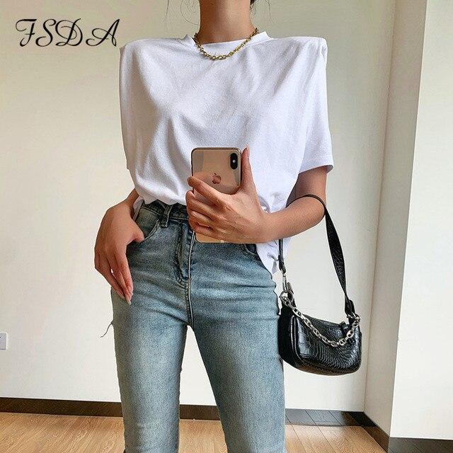 FSDA 2020 Summer Short Sleeve T Shirt Basic Women White Casual O Neck Tee Streetwear Elegant Loose Sexy Top Shirts Ladies