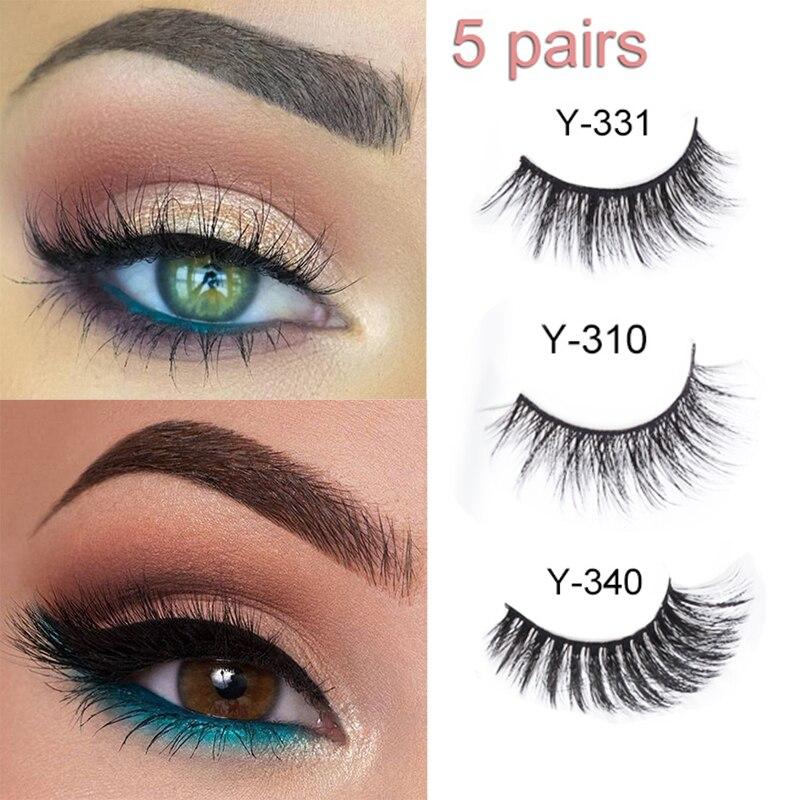 Yelix 5 Pairs Soft Reusable Mink Eyelashes 3d Mink Hair Lashes Bulk Wispy False Eyelashes Natural Makeup 3d Mink Lashes Long