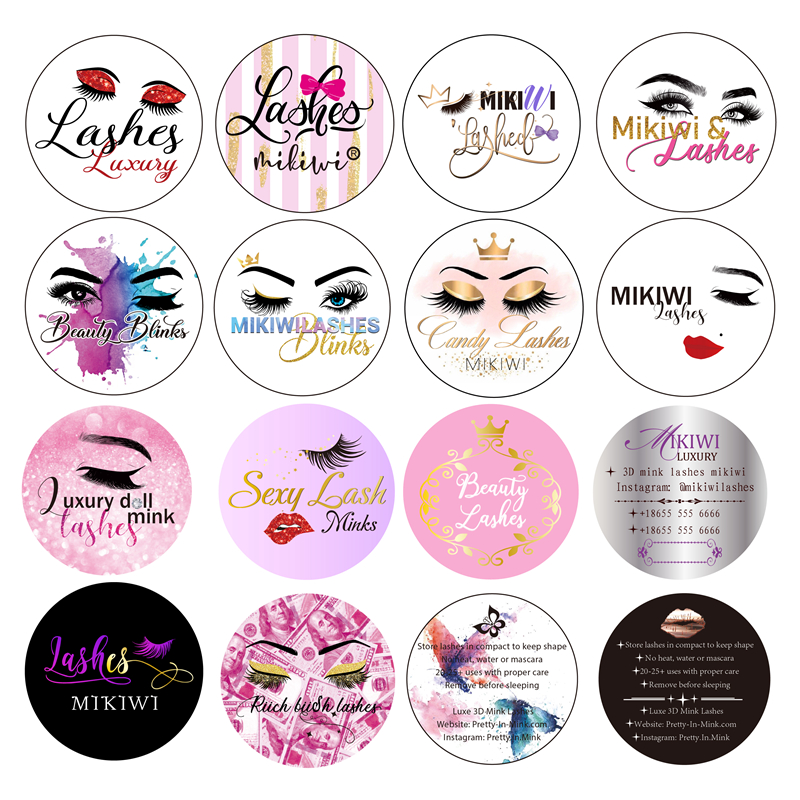 Wholesale Free Design Custom Packaging Label Logo Stickers All Size False Eyelashes Labels 25mm 3D Mink Lashes Brand Stickers