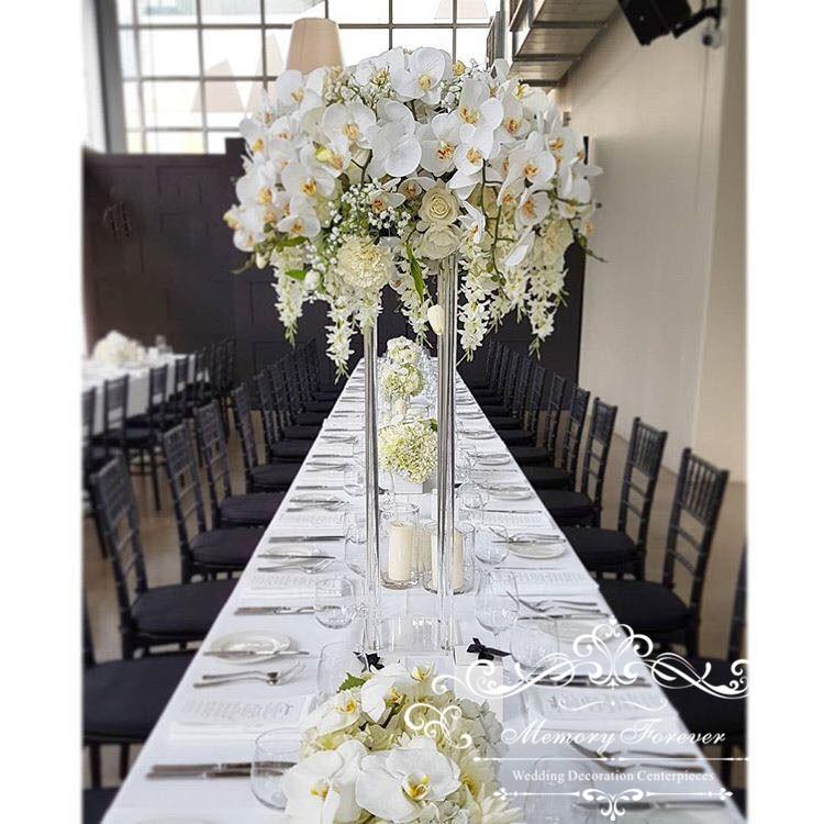 Wedding Decoration Centerpiece Clear Flower Stand Marriage Crystal Acrylic Flower Vase Road Lead Column Pillar Props