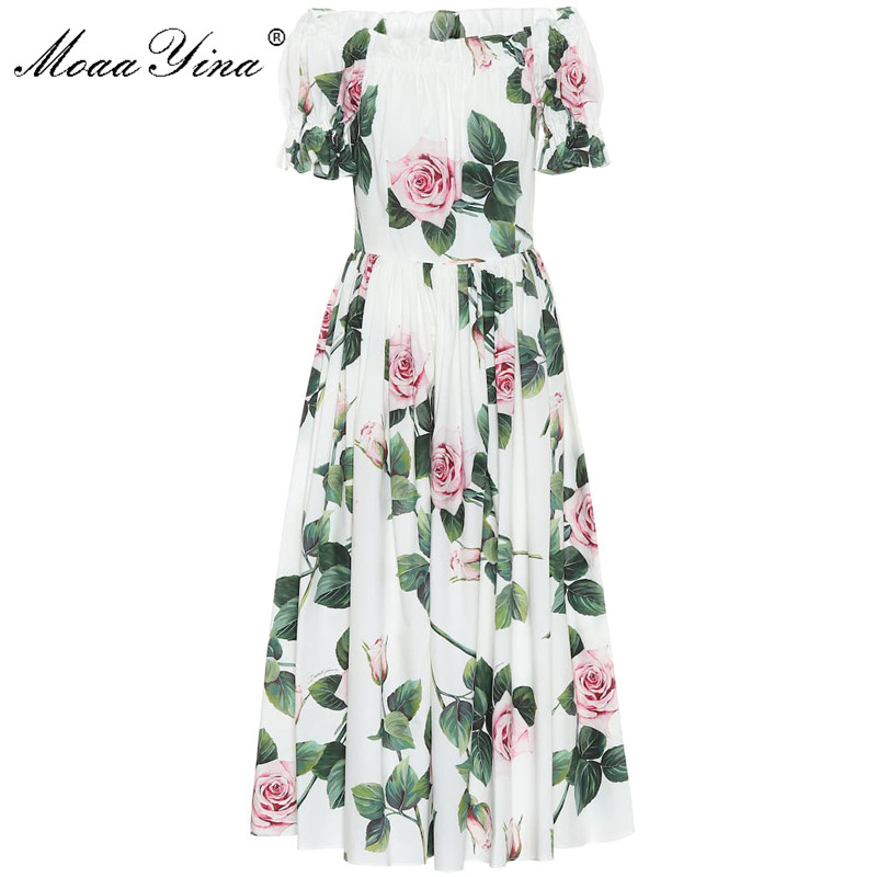 MoaaYina Fashion Designer Dress Spring Summer Women's Dress Puff Sleeve Rose Floral-Print Vacation Cotton Dresses