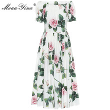 MoaaYina Fashion Designer dress Spring Summer Womens Dress Puff sleeve Rose Floral Print Vacation Cotton Dresses