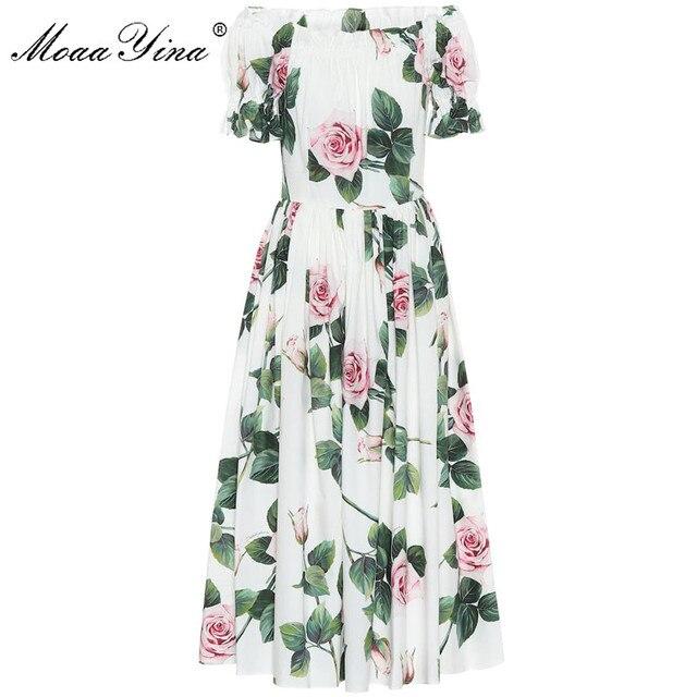 MoaaYina robe styliste, manches bouffantes, imprimé Floral, roses, en coton, pour vacances, printemps été