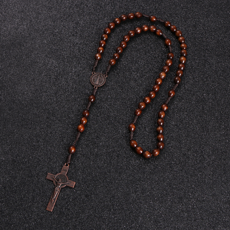 KOMi Christ Jesus Wooden Beads 8mm Rosary Bead Cross Pendant Woven Rope Chain Necklace Religious Orthodox Praying  Jewelry R-192