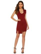 V-образным вырезом вечернее платье молния назад рукавов мини-Пром платье винно-красный Тафта асимметричный платье XUCTHHC 2020 новое платье