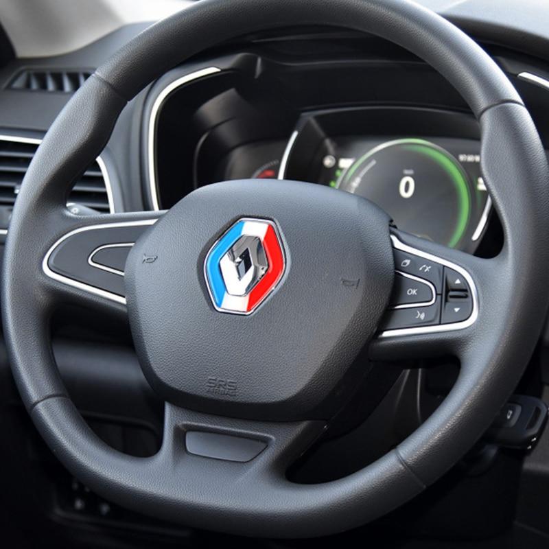 Decoración del emblema del volante del coche pegatina para Renault koleos 2017 kadjar 2017 Negro 2 botones de silicona Flip plegable cubierta de la llave del coche soporte Protector para Renault Dacia Modus Clio 3