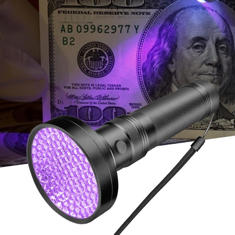 100LED Aluminum Alloy UV Flashlight Camping Hiking Torch Outdoor Emergency Light Money Detector Night Fishing Supplies