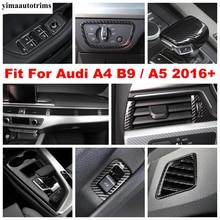Pencere kaldırma düğmesi vites Dashboard hava AC Panel kapağı Trim için Audi A4 B9 / A5 2016  2020 karbon Fiber iç aksesuarları