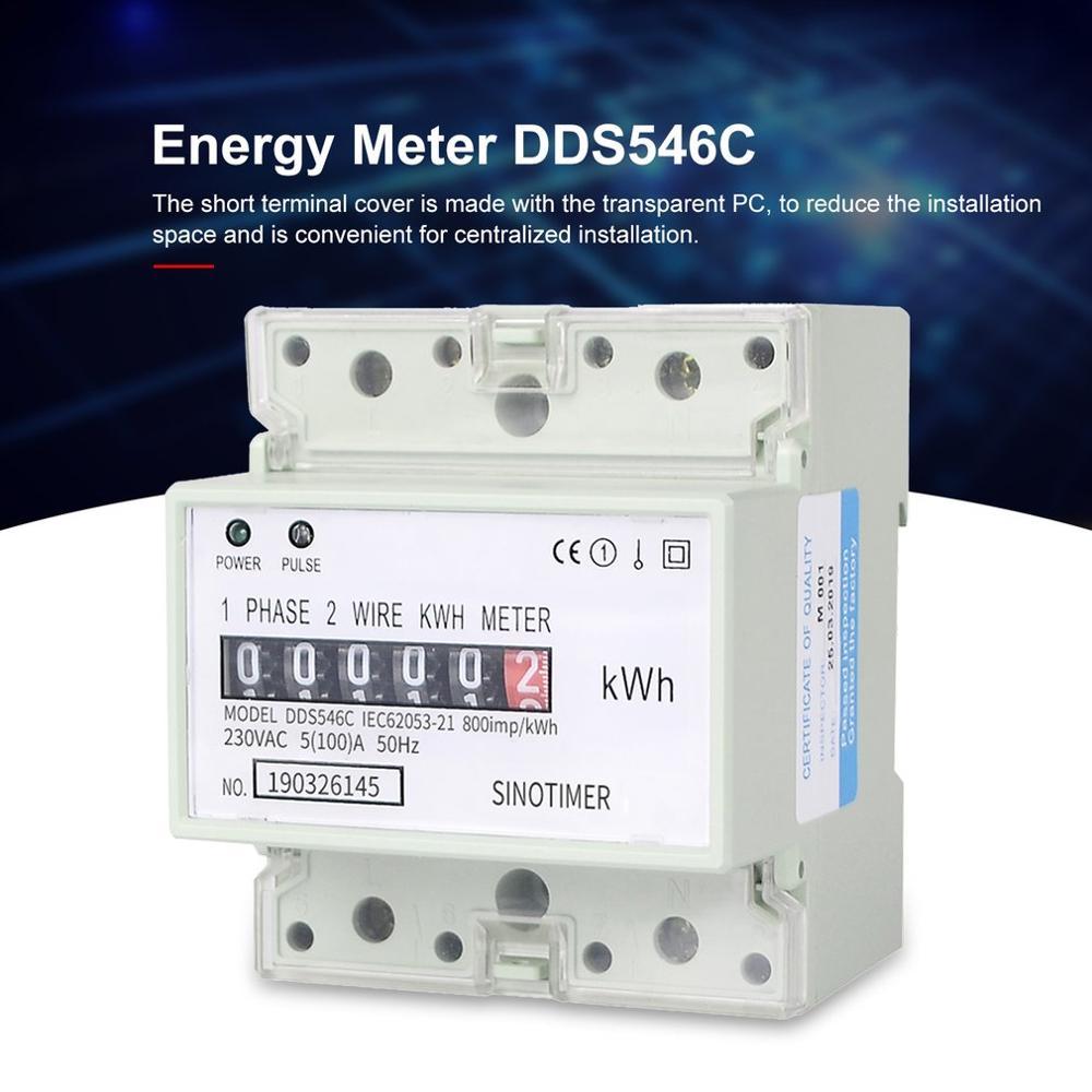 SINOTIMER DDS546C 230VAC однофазный счетчик энергии 4P аналоговый Электрический ваттметр бытовой Электрический измеритель на din рейку