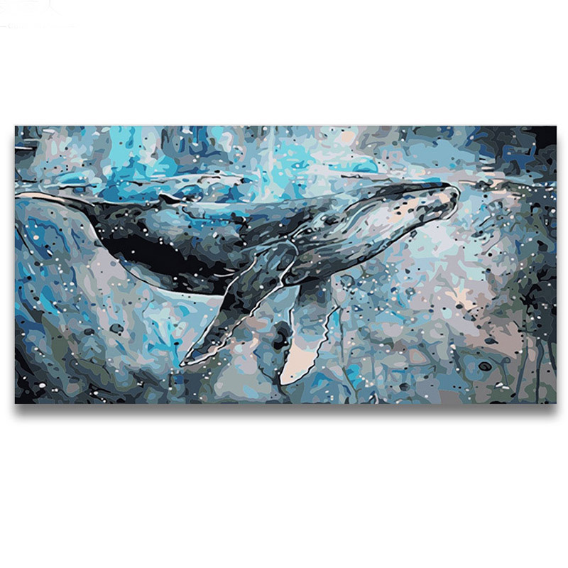 DIY 5D Diamond Painting Kits By Number Full Drill Dolphin 40x30cm Rhinestone Embroidery Cross Stitch Pictures Arts Craft Home Wall Decor Gift