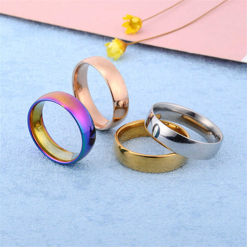 Rose Gold Stainless Steel Ring Men Color Silver Jewelry Male Punk Ring Engagement Rings For Women Wedding Promise Ring Men Gifts