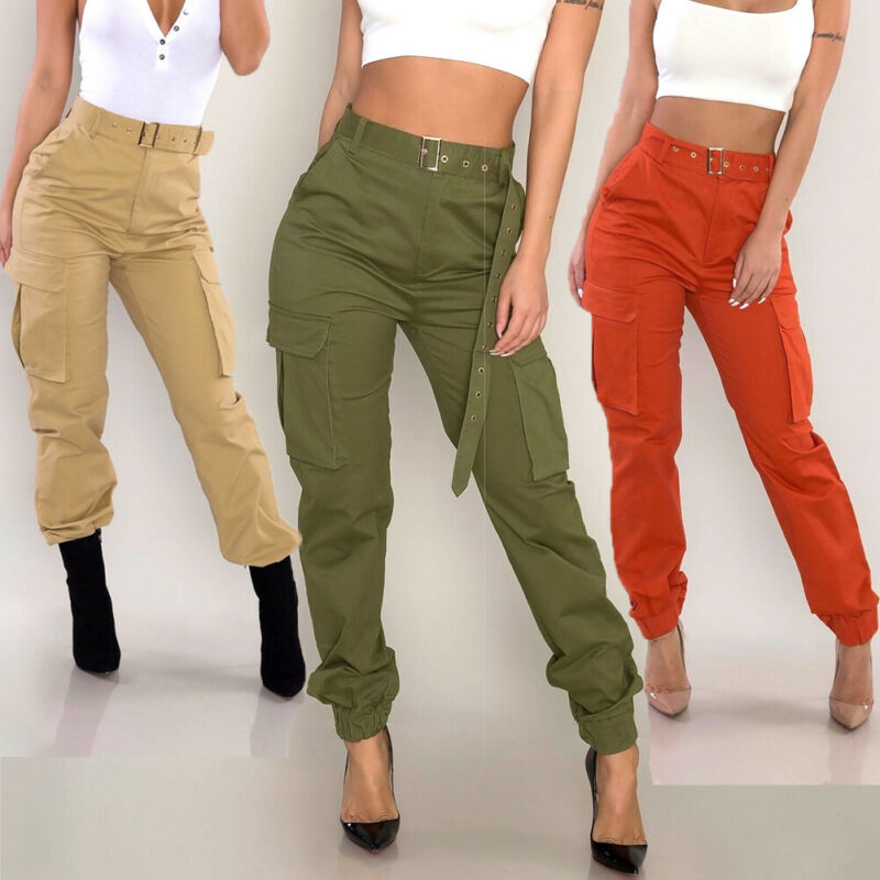 Hirigin Autumn Women Solid Army Cargo Trousers Casual High Waist  Pockets Pants Military Combat Jeans Cool Pants Tie Belt