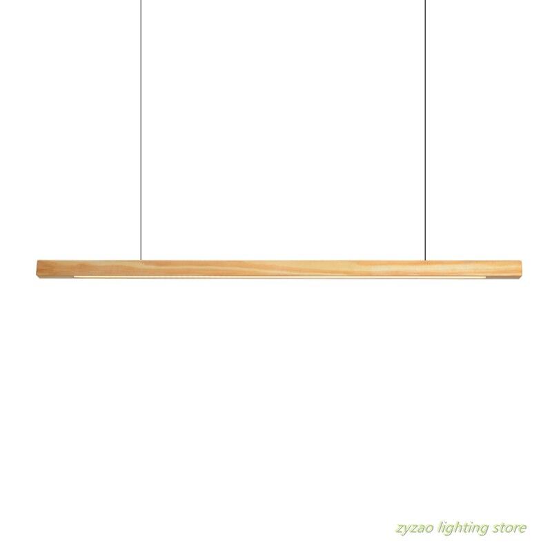 Nordic Stil Moderne Einfache Led Lange Streifen Anhänger Lichter Restaurant Bar Büro Hanglamp Esszimmer Massivholz Led Anhänger Lampen