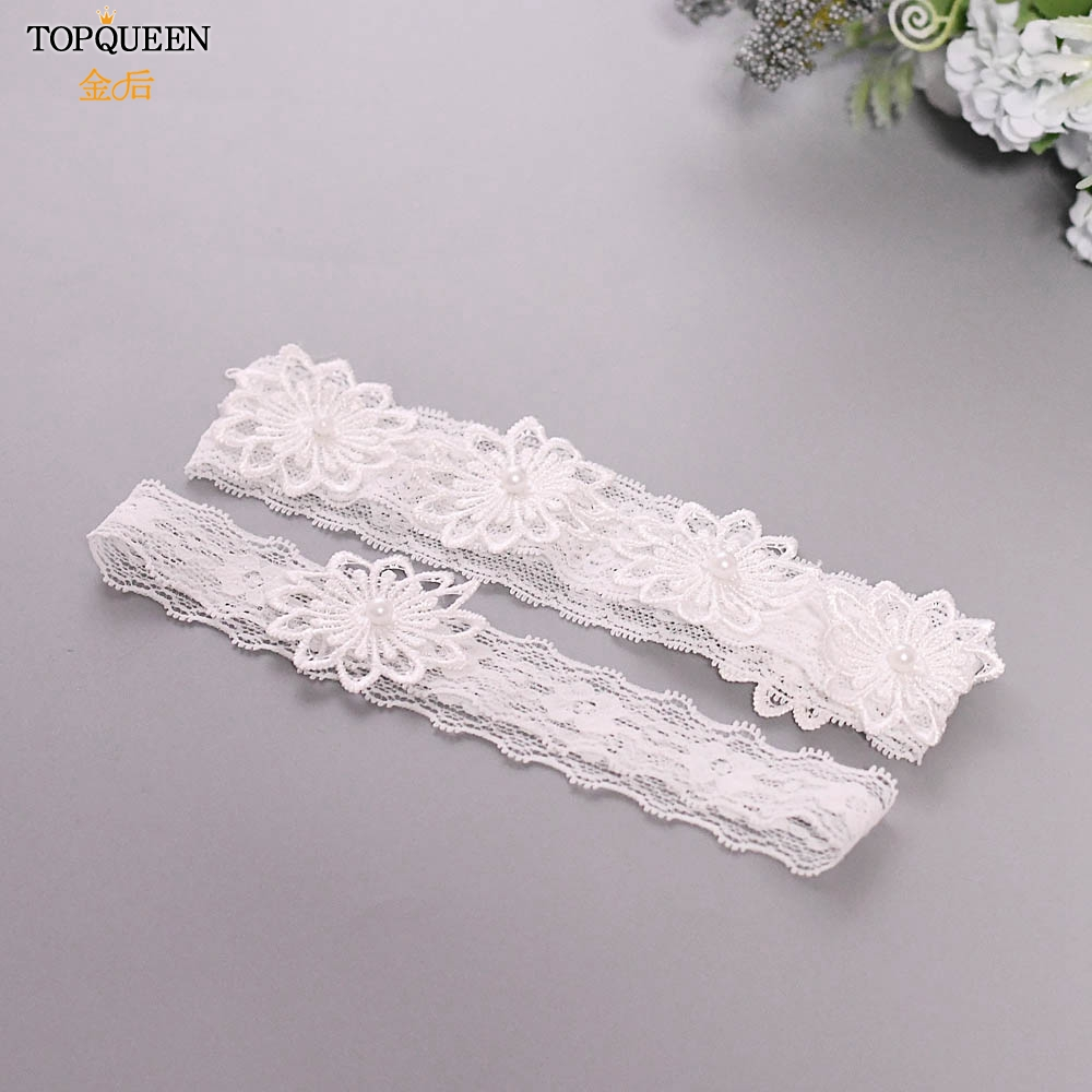 TOPQUEEN 2pcs/Set Wedding Garters Lace Embroidery Floral Sexy Garters For Women/Bride Princess Girl Pearl Thigh Ring TH27 TH28