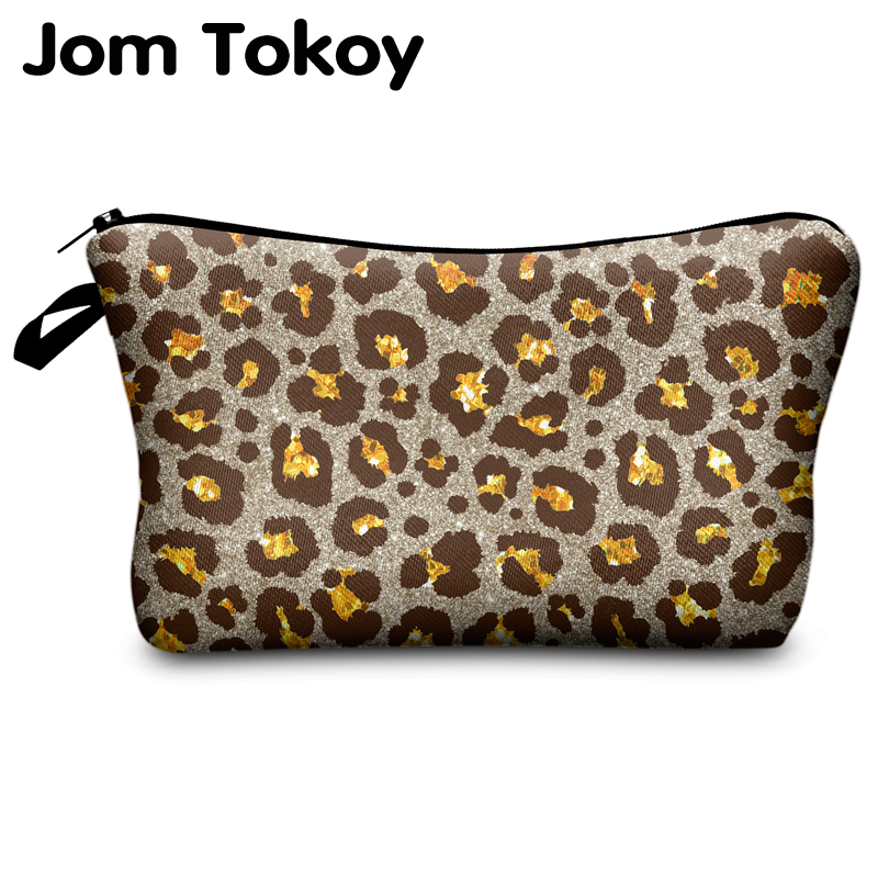 Jomtokoy Leopard Printing PatternTravel Cosmetic Bag Makeup Bag Handbag Female Zipper Purse Small Cosmetics Make Up Bags