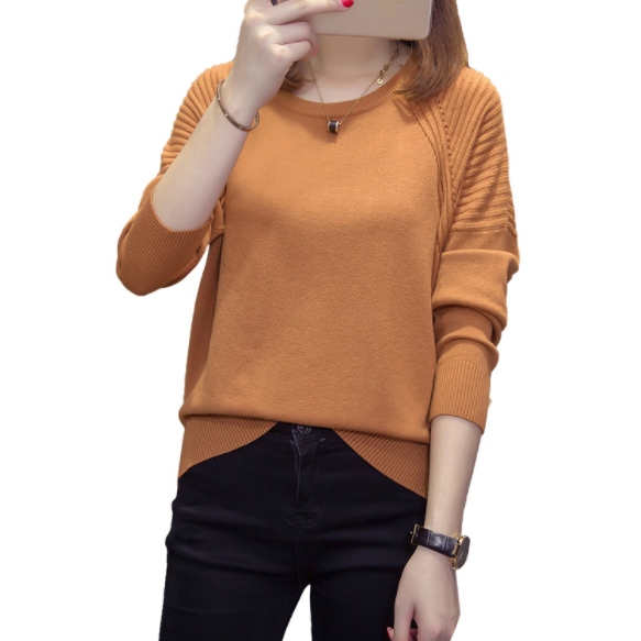 Plus Size Knitted Pullovers Women Autumn Soft Sweater Ladies Jumpers Oversize Solid Split Knitwear Tops DA669